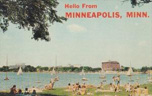 Minnesota Greetings Hello From Minneapolis Lake Calhoun Beach Scene