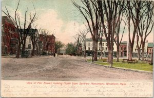 Westfield Massachusetts~Elm Street Businesses North From Soldier's Monument~1907
