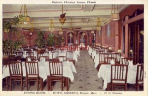 DINING ROOM - HOTEL MINERVA, BOSTON, MA - H. C. Demeter