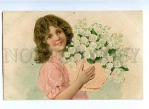 170125 EMBOSSED Girl w/ Lily of Valley in Basket Vintage PC
