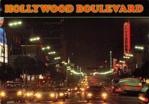 USA Hollywood Boulevard California Night view Street Cars Billboards Advertising