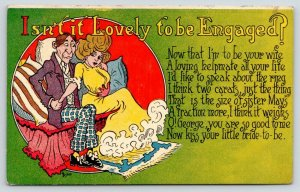 Bishop~Lovely to be Engaged~Couple on Couch~Negotiating Size of Ring~Poem~Comic