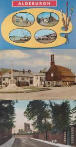 Aldeburgh Suffolk Painting Boat Painting Church Hill War Memorial 3x Postcard