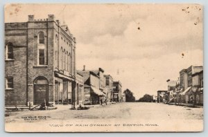 Dayton Iowa~Main Street~The Big Store~Billiard Hall~Cole Drug Co Pub~1908 Sepia