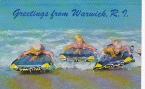 Rhode Island Greetings From Warwick Three Young Boys Ride The Surf