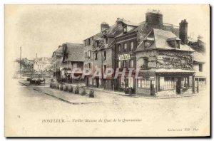 Postcard Old Honfleur Vieilles Maisons du Quai Quarantine Cafe Reunion Tobacco