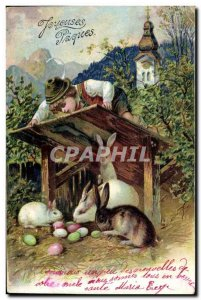 Old Postcard Bunny Rabbits Easter Child