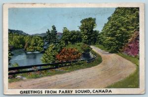 Postcard Canada Ontario Parry Sound Scenic Greetings c1920s #2 Q10