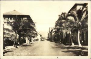 Honolulu HI Bishop St. Real Photo Postcard
