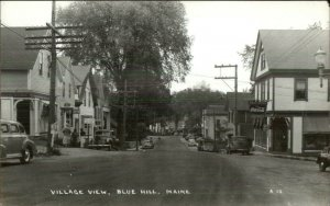 Blue Hill ME Cars Street Stores Real Photo Postcard