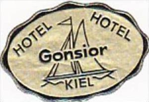 GERMANY KIEL HOTEL GONSIOR VINTAGE LUGGAGE LABEL