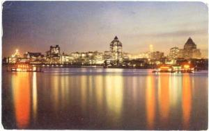 Waterfront Night View of Vancouver British Columbia Canada, 1953 Chrome