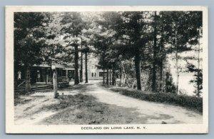 LONG LAKE NY DEERLAND ANTIQUE POSTCARD