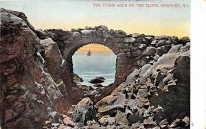 Newport Rhode Island~Stone Arch on Cliffs~Sailboat Seen Through Arch~c1905 Pc