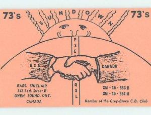Pre-1980 RADIO CARD - CB HAM OR QSL Owen Sound Ontario ON AH2054