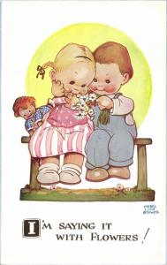 Artist Signed Mabel Lucie Attwell No. 1002, I'm Saying it with Flowers!, Doll