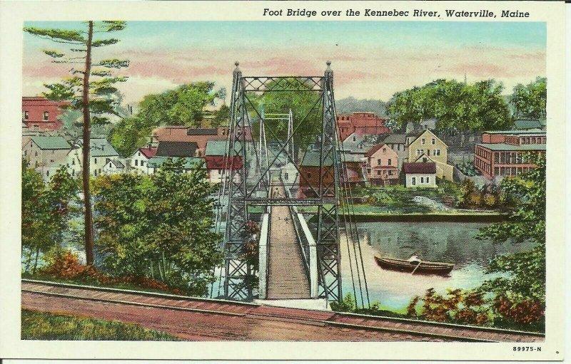 Footbridge Over The Kennebec River, Waterville, Maine