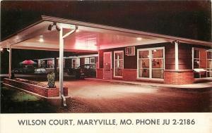 Maryville Missouri~Carport at Night~Wilson Court~1950s Postcard