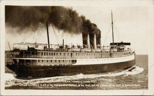 SS 'Princess Charlotte' Ship BC 1911 Shaw Real Photo Postcard E90 *as is