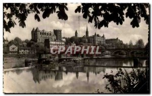 Old Postcard Pau View Gave The Chateau and the Bridge