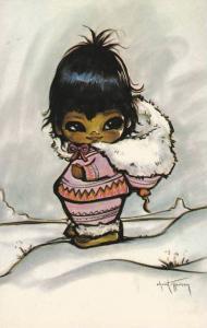 CHRISTOFFERSON: Midnight Sunshine Canadian Indian Girl in Snowsuit & Fur Hood