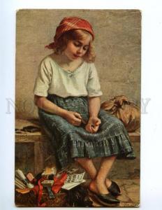 137836 Girl Seller in Antique Shop by COLOMB vintage SALON PC