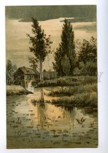 170863 Water MILL Landscape Vintage LITHO Russian PC