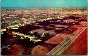 1950s Los Angeles International Airport LAX Postcard Air View Terminal Runways