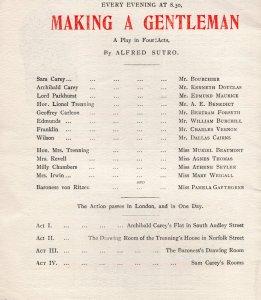 Making A Gentleman Arthur Bouchier Garrick Theatre Programme