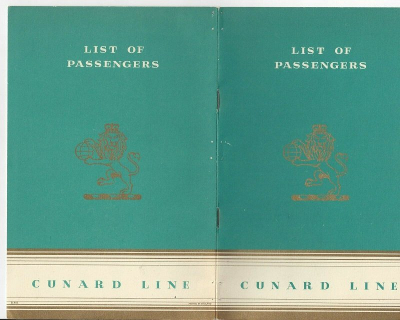CUNARD LINE, R. M. S. Samaria, 15-page List of Passengers Booklet, 9/11/1953