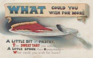 Pastry Sweet Tart Honeymoon Desert Spoon Comic Old Postcard