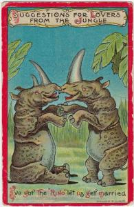 Couple of Rhinoceroses laughing, 1900-10s; Marriage proposal