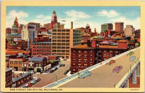 New Viaduct and Skyline, Baltimore Maryland c1941 Vintage Postcard I18