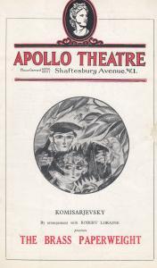 The Brass Paperweight Soviet Komisarjevsky Apollo London Theatre Programme