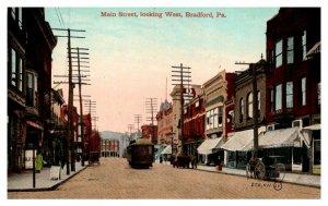 Pennsylvania  Bradford , Main street looking West , Trolleys