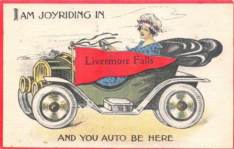 Joyriding in Livermore Falls Maine~You Auto be Here~Vintage Car~1915 Pennant