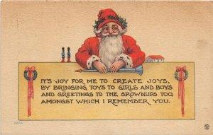 F99/ Santa Claus Christmas Postcard c1910 Wreaths Horn Toppinish Wa 5