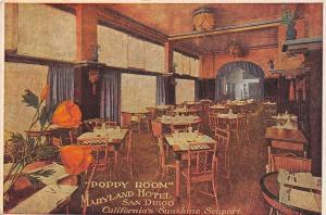 San Diego CA~Maryland Hotel~Poppy Room~Rustic Table Settings~Heevey-Paget c1925