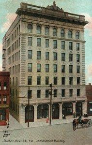 Vintage Postcard 1910's Consolidated Building Jacksonville Florida FL Tuck's