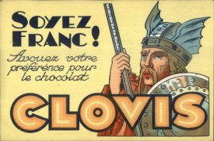 SOYEZ FRANC! Clovis Chocolate Viking Warrior Halmet Shield Art Deco Postcard