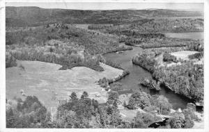 Willimantic Maine aerial view Bill Earley's Camps Sebec Lake vintage pc ZA440712