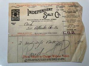 1926 Independent SALT COMPANY Red Cross Table Salt NEW YORK Bill Letterhead