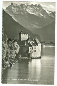 Switzerland, Chateau de CHILLON et Dents du Midi, 1958 used real photo Postcard