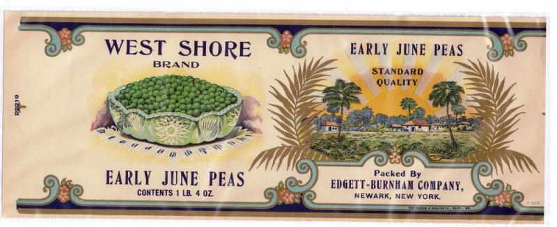 West Shore June Peas Edgett Burnham Gilded Vintage Can Label