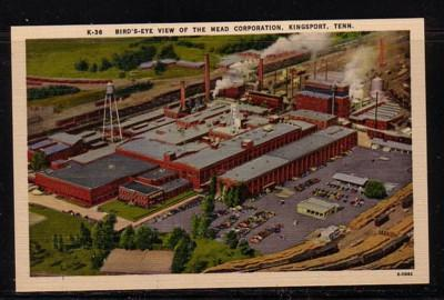 Tennessee colour PC  Bird's-Eye View Mead Corporation Kingsport, unused