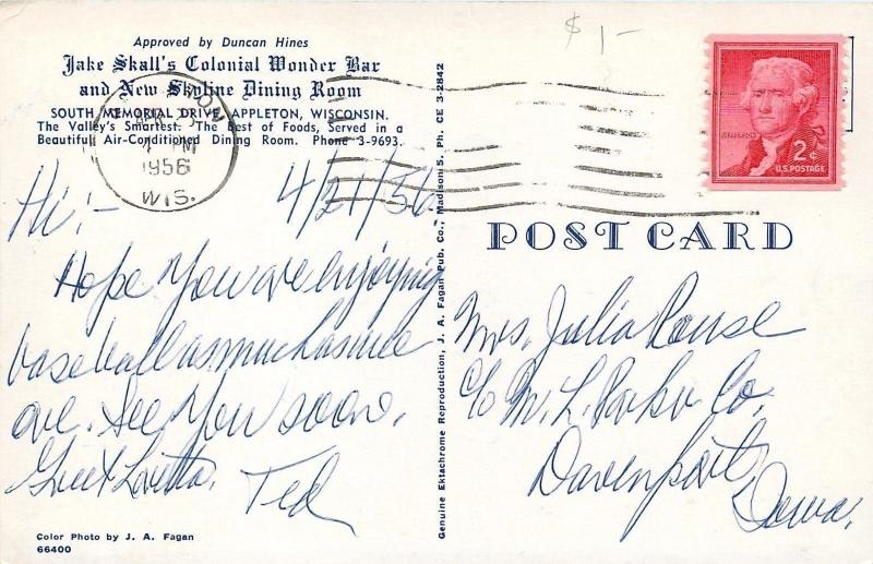 Appleton WI~Jake Skall on Roof~Colonial Wonder Bar~New Skyline Dining Room~1956