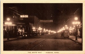 Postcard MN Hibbing The White Way ~ Autos For Hire ~1st Greyhound Bus Station