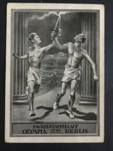 Mint 1936 Berlin Germany Olympics Picture Postcard German Athletes with Torch