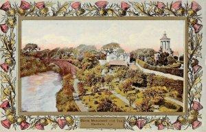 AYR SCOTLAND UK~MONUMENT & TEA GARDENS~DAVIDSONS THISTLE BORDER POSTCARD
