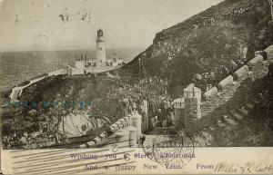 1901 Port Skillion Isle of Man PC: Sightseers Throng to Douglas Head Lighthouse